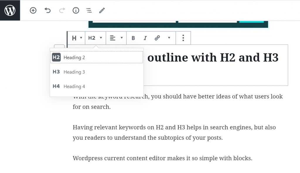 SEO Article that is optimized for readers experience - H2 and H3 subheader in WordPress